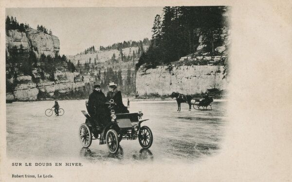 Switzerland - The Doubs River - Driving on a completely ice-bound surface in winter