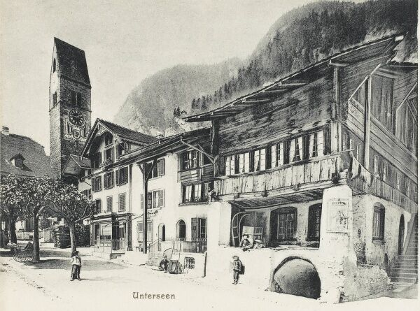 Switzerland - the old wooden buildings in the centre of Unterseen. The city was founded on July 13, 1279, when King Rudolf I von Habsburg granted Baron Berchtold III of Eschenbach-Oberhofen permission to build a stronghold between Lake Thun and Lake Brienz