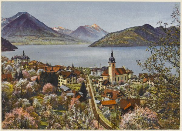 Vitznau and the Vierwaldstattersee, with the Rigibahn railway