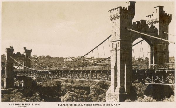 Suspension Bridge, North Shore, Sydney, New South Wales, Australia in 1930