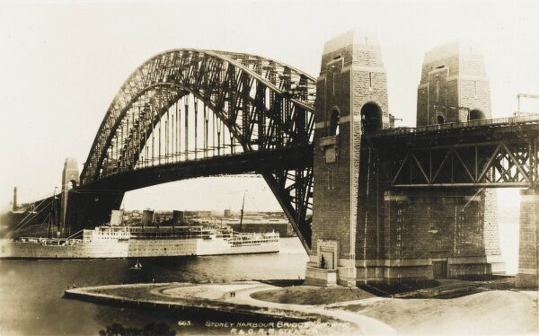 A view of the Sydney Harbour Bridge, Australia - pictured shortly after construction had finished. The bridge was designed and built by Dorman Long and Co Ltd, Middlesbrough Teesside and Cleveland Bridge, Darlington, County Durham and opened in 1932