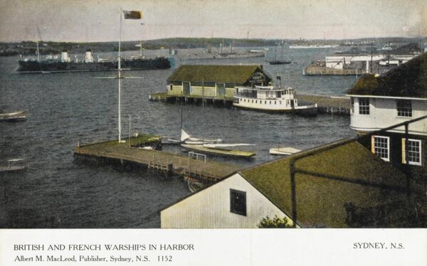 British (rear) and French (foreground) warships in the harbour at Sydney, Nova Scotia, Canada