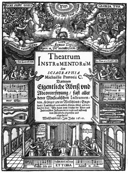 Title page of Syntagma Musicum(1620), by Michael Praetorius. Musicians on earth echo the heavenly music of angels and even King David, as they worship the lamb of God. The same decorative border can be seen on a copy of one of Praetorius' earlier work