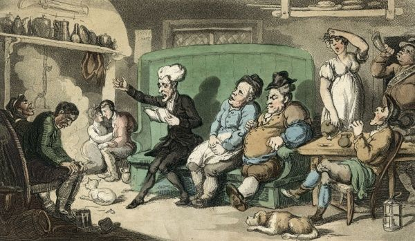 Dr Syntax recites from his tour notes in a country inn: the reception by the other guests is varied. Date: 1815