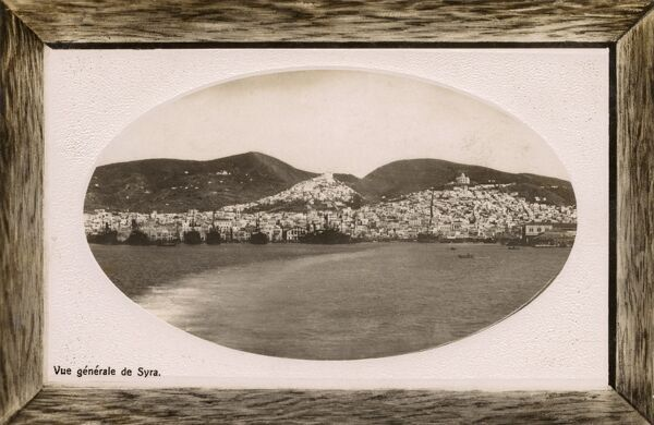 View from the sea of Ermoupoli (Ermoupolis / Hermoupolis / 'Town of Hermes') on the island of Syros (Siros / Syra), in the Cyclades, Greece. Date: circa 1910s
