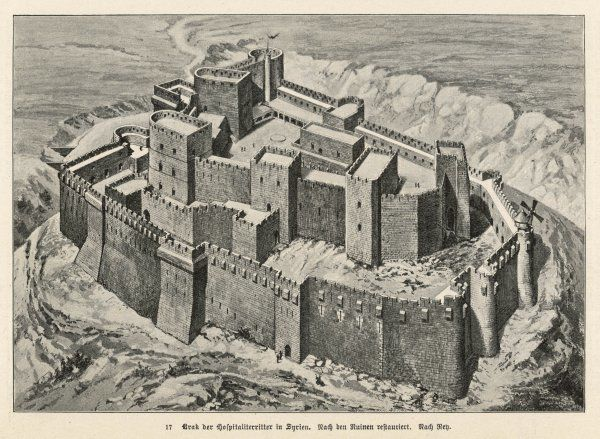 Krak des Chevaliers, the Crusaders' Castle, as it looked in the 12th century