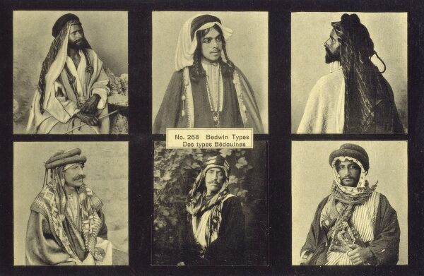 The traditional clothing style of six Syrian Bedouin Men. Date: circa 1910s
