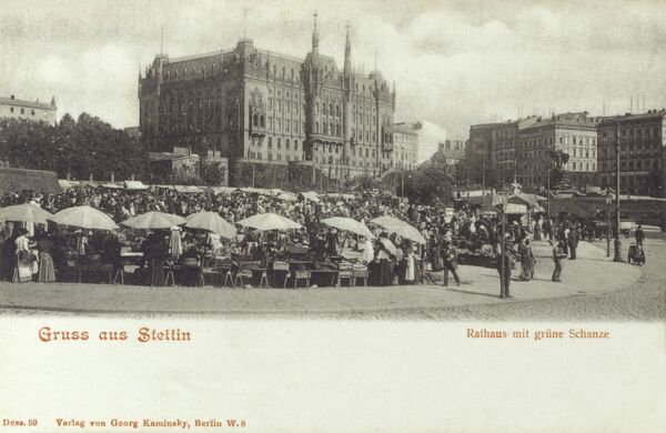 Szczecin (Stettin) - the capital city of West Pomeranian Voivodeship in Poland. The Town Hall and Vegetable Market. Date: circa 1905