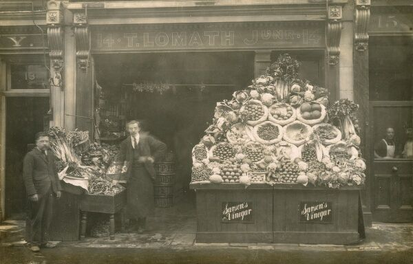 The shop of T. Lomath Jnr., 14 Allington Street, Pimlico, London - a Fruiterer and Greengrocer