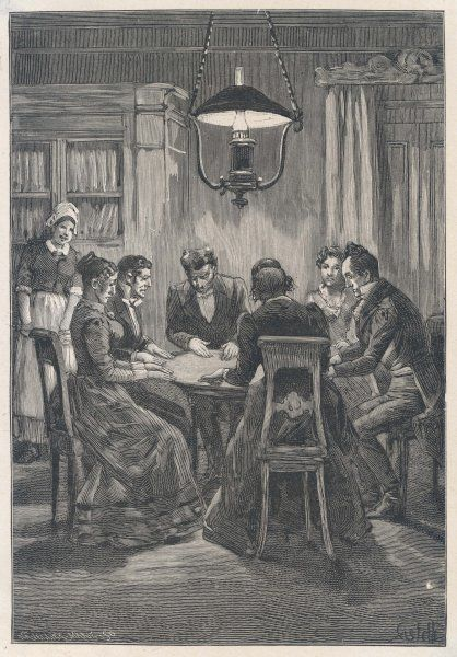 A table turning seance of Agenar de Gasparin, Switzerland Date: 1853