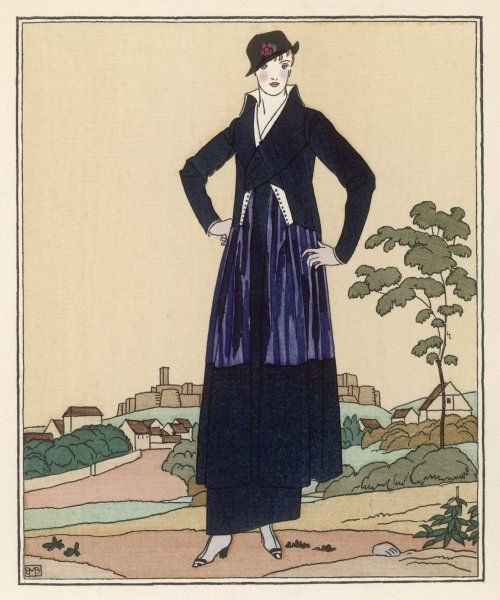 Elegant tailor-made costume by Worth: tubular skirt, flared open tunic in 2 colours, 'directoire' style jacket with stand-fall collar, hat worn over one eye