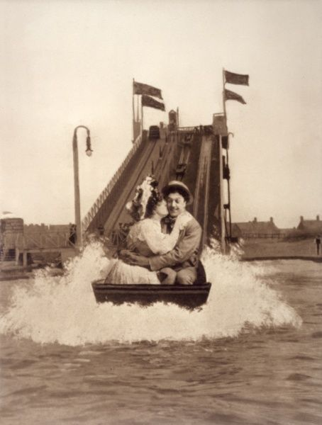 A couple enjoy the water chute at Blackpool Pleasure Beach