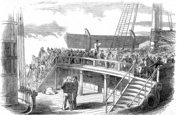 Engraving showing the passengers of an emigrant ship gathered on the quarterdeck for the roll call, 1850