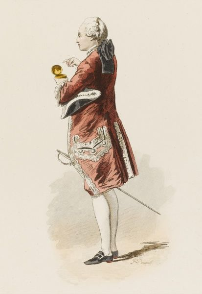 A French gentleman at the court of Louis XV takes a pinch of snuff