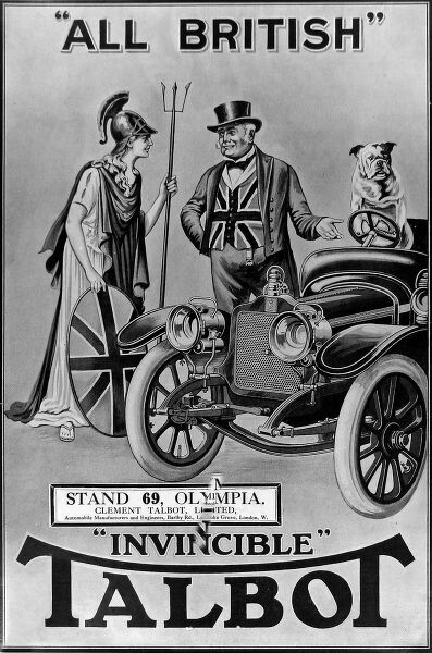 Advertisement for Talbot's 'Invincible' car, 1912. 'John Bull' is shown centre, proudly telling 'Britannia' that the car is 'All British'. A British bulldog is shown standing at the wheel of the car