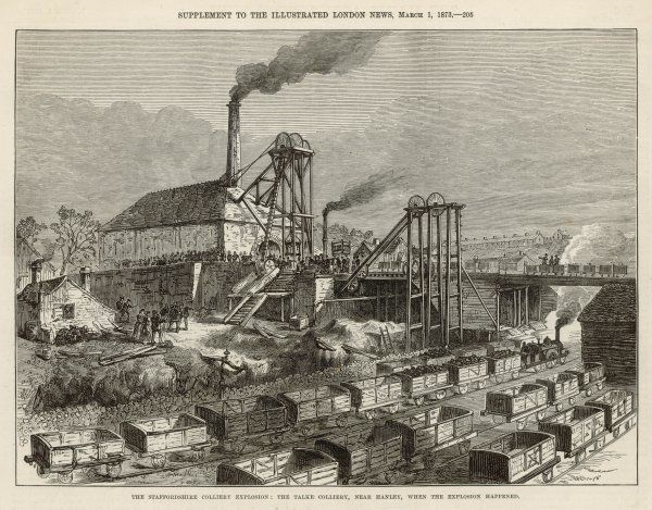 Talke-on-the-Hill colliery, near Hanley, Staffordshire, the scene of an explosion causing nearly twenty deaths on 18th February 1873