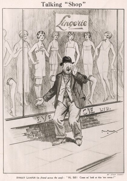 Cartoon by Stan Terry showing a 'street loafer' shouting to his friend after looking in the window of a lingerie store