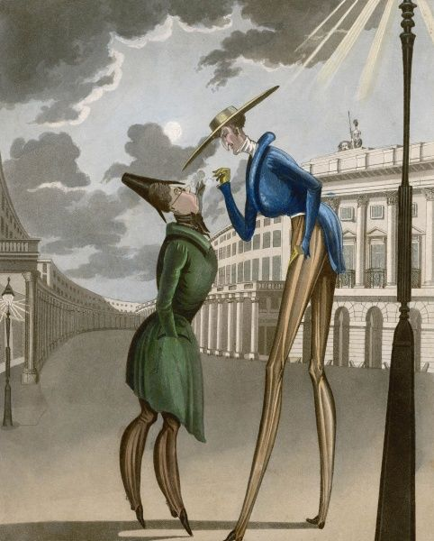 An extremely tall, long-legged man under a gas street lamp; his companion has to stand on tiptoe