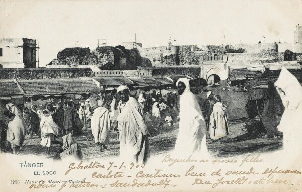 The open market at Tangiers, Morocco. A Moroccan postcard, printed by Hauser & Menet in Spain, which was posted in Gibraltar in 1903 and sent to Lisbon, Portugal!!