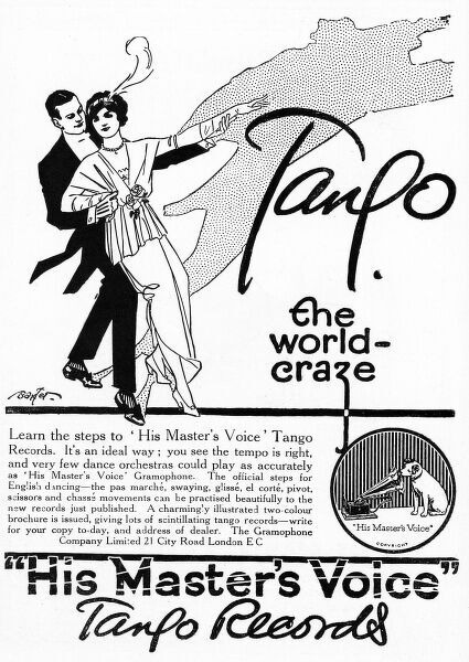 Advertisement for Tango records from His Masters Voice, encouraging people to learn the steps to this new dance craze with the help of their records. The tango took Britain by storm in 1913. 1913