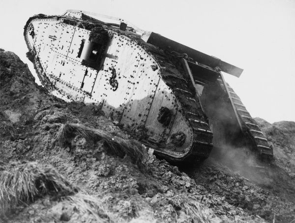 Tank F4 climbing a slope at Wailly in France on the British front during World War I in October 1917