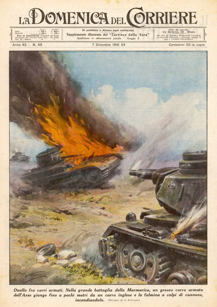 North Africa : a German tank destroys a British tank in Marmarica, during the fiercely contested battle for Tobruk, Libya