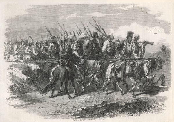 Rebel forces under the command of Tantia Topee, one of the finest of the Indian generals.Having outwitted the British forces for more than a year, he was ultimately betrayed by a friend, captured by the British, tried and executed on 18 April 1859