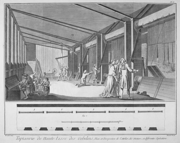 Weaving tapestry at the Gobelins works, on the outskirts of Paris Date: 1771
