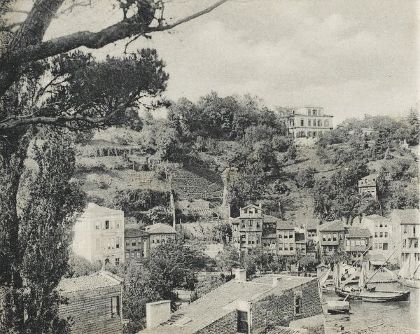 A very interesting view of Tarabya (Therapia) showing the market garden known as 'L'Etablissement Horticole de Therapia'. The British Consulate is on the top of the hill and Tarabya harbour can be viewed at the bottom of the scene