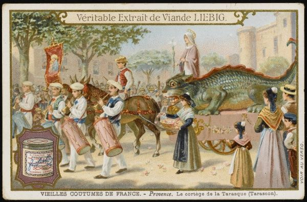 At Tarascon, Provence, a dragon processes through the town recalling a monster caught by Ste Marthe, who took the opportunity to convert the townsfolk to Christianity