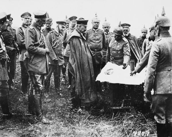 At the Tarnopol headquarters of the German army, Kaiser Wilhelm II (centre of picture) is kept up to date with the progress of the German advance in East Galicia. To the rear of the picture can be seen the bearded figure of Prince Leopold of Bavaria