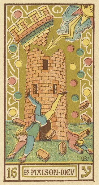 Tarot Card 16 - La Maison Dieu (The Tower, sometimes also referred to as The Hospital)