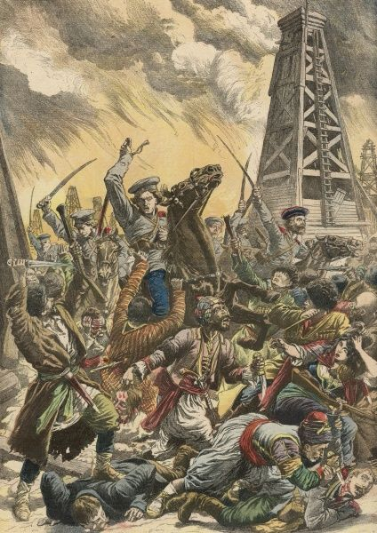 At Baku, in the Caucasus, Tartar rebels are attacked harshly by government troops when they set fire to naphtha wells