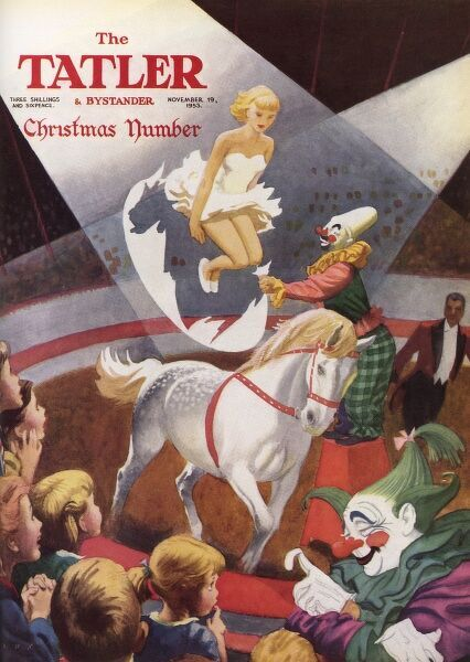 Front cover of The Tatler Christmas Number, 1953 featuring a scene inside a circus big top, with children being entertained by clowns and a girl acrobat on horseback. Date: 1953