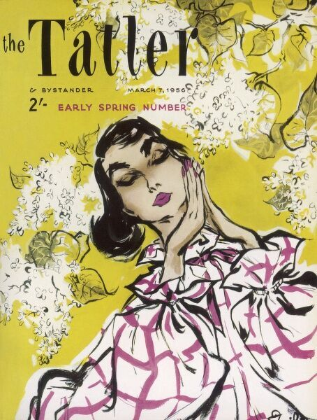Front cover design in a typical 1950s style for The Tatler Early Spring Number. A woman wearing a voluminous checked blouse has a moment to herself while surrounded by lilac blossom