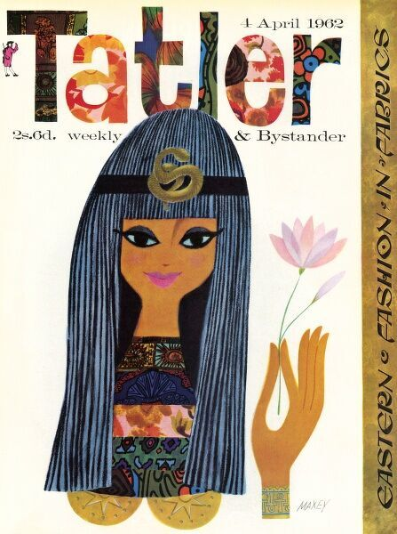 Graphic front cover of The Tatler depicting an Egyptian woman with a beatific smile made up from a number of Eastern style fabric designs, mainly from Liberty. Date: 1962