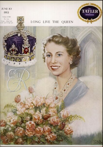 Front cover design for The Tatler magazine to celebrate the coronation of Queen Elizabeth II in June 1953. It features a painting of the Queen wearing fur and carrying a bouquet of roses