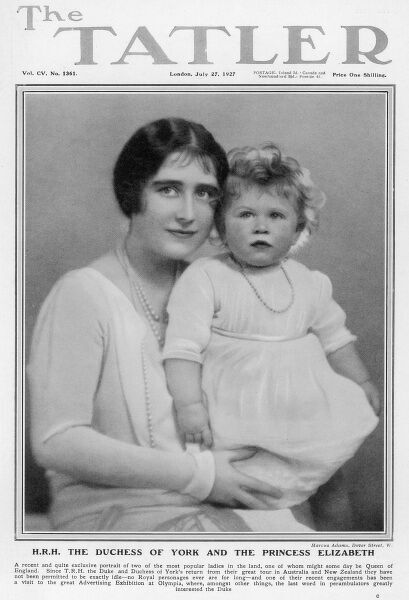 The Tatler front cover featuring a photograph of the Duchess of York (later Queen Elizabeth, The Queen Mother) with Princess Elizabeth of York (later Queen Elizabeth II) taken in July 1927, shortly after her first birthday