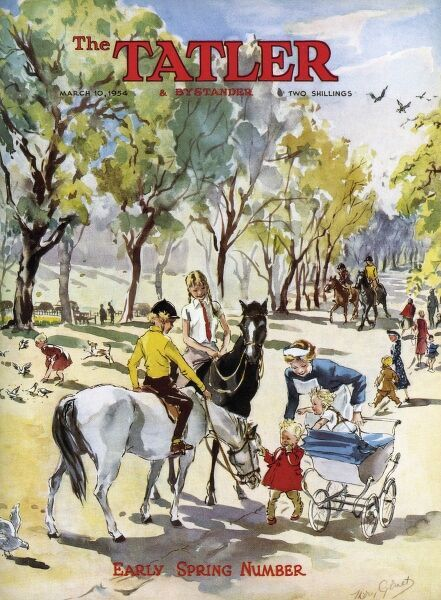Front cover of The Tatler featuring an illustration depicting an idyllic Springtime scene - a London park with children riding horses and smaller babie and toddlers being walked out by their nannies. Date: 1954
