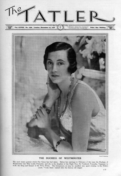 Front cover of The Tatler featuring a photograph of Loelia, Duchess of Westminster (1902 - 1993), born Loelia Mary Ponsonby. She married Hugh Richard Arthur, second Duke of Westminster in 1930 in the society event of the year, but the marriage proved unhappy