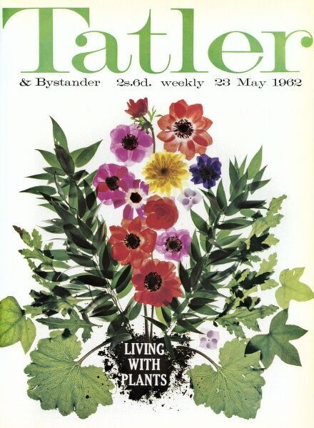 Bright front cover of The Tatler in 1962, featuring a variety of plants and flowers, the presiding subject of that particular issue. Date: 1962