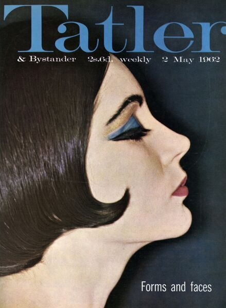 Front cover of The Tatler featuring a model wearing typical 1960s makeup. The lipstick is Cardinal by Lancome and the dramatic eyes use spangled Pailettes D'Or and turquoise eyeshadow by Perle Dore. The chic, bobbed hair do is by Vidal Sassoon