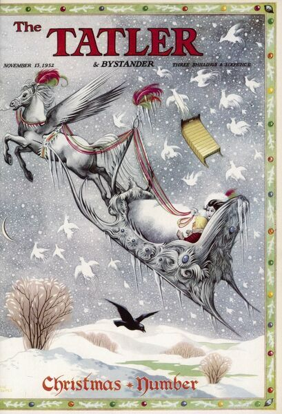 Spell-binding illustration by Pauline Baynes for the Tatler Christmas number front cover, 1952, featuring a Snow Queen taking a small boy for a ride through the snowy sky in her sleigh
