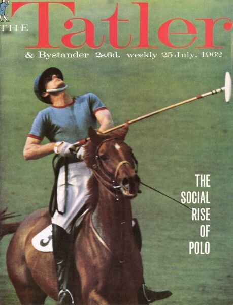 Prince Philip playing polo for Windsor Park against Silver Leys, photographed for the front cover of The Tatler in 1962. A well-known and skilful polo player, the Duke of Edinburgh had a handicap of four with the Queen watching most of his matches