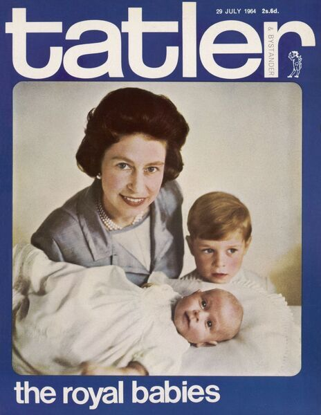 The Tatler front cover featuring a photograph of the Queen Elizabeth II with her children Prince Andrew and Prince Edward taken in July 1964 shortly after the birth of Prince Edward