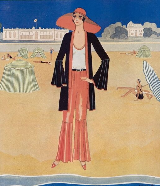 Riviera-influenced fashion illustration by Gordon Conway depicting a pyjama suit with a large floppy hat for wearing on the beach