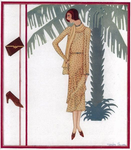 A fashion design by Gordon Conway, taken from a series of monthly supplements drawn by the artist