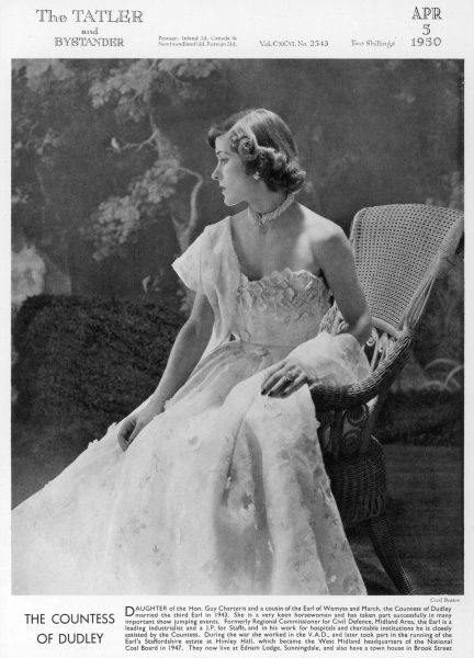 Daughter of the Hon. Guy Charteris and a cousin of the Earl of Wemyss and March, the Countess of Dudley married the third Earl in 1943. She was a keen horsewoman and took part in many important show jumping events. During the war she worked in the V