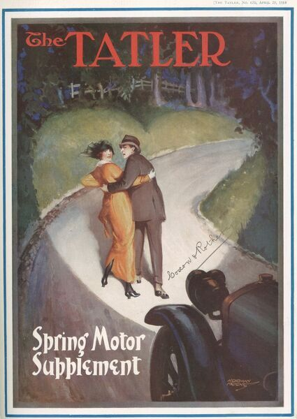 A front cover illustration showing a couple of lovers lit by a heart shaped headlight