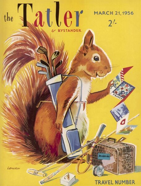 Bright and jolly front cover design for The Tatler Travel Number by Lowen featuring, rather inexplicably, a red squirrel, who is packing various bits of sporting equipment and paraphenalia including golf clubs, tennis raquet and fishing reels